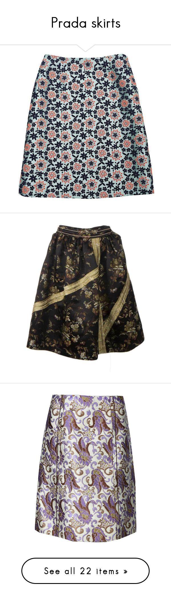 """Prada skirts"" by missloveschic ❤ liked on Polyvore featuring skirts, prada, prada skirt, black knee length skirt, black skirt, tulip skirt, green skirt, beige skirt, yellow skirt and a line skirt"