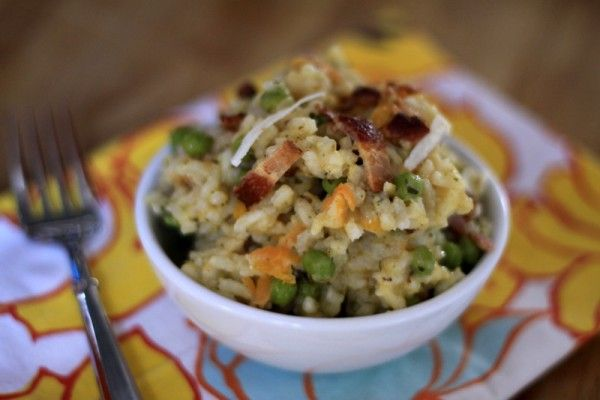 Baked risotto with bacon and peas. A baby-friendly, one-pot meal with built in veggies--and NO stirring! From Foodlets.com