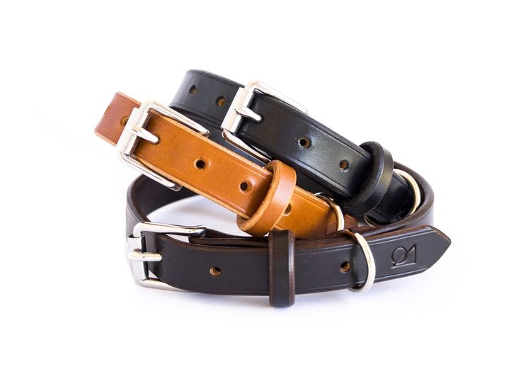 Classic Leather Dog Collar | JE Sedgwick English bridle leather & stainless steel