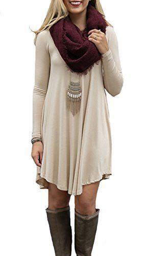 Women's Long Sleeve Casual Loose T-Shirt Dress Beige S DE... https://www.amazon.com/dp/B01B5GVJI4/ref=cm_sw_r_pi_dp_x_1ZLmybGEE1MA6