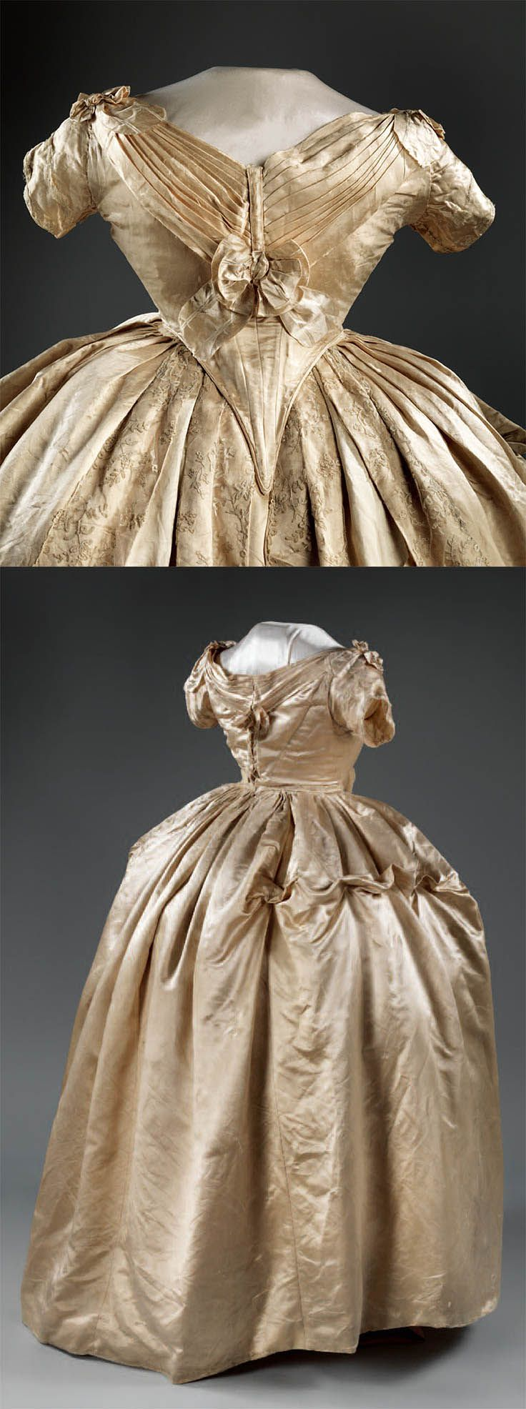 Sarah Childress Polk's grand pink satin brocade ball gown, 1845-1849, made by the Paris couturière Madame Manoury