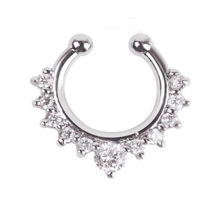 Who says you have to get the piercing to look stylish? Faux Jeweled Septum Nose Ring looks just like the real deal! Get yours while supplies last!  Body Jewelry Type: Nose Rings & StudsMaterial: CrystalMetals Type: Zinc Alloy    EnjoyFREEShipping! Due to high-demand, please allow 2-4 weeks for delivery.Satisfaction Guarantee- We aren't happy unless you are 100% satisfied. | Shop this product here: spree.to/6b7 | Shop all of our products at http://spreesy.com/aleiasaka_loves…
