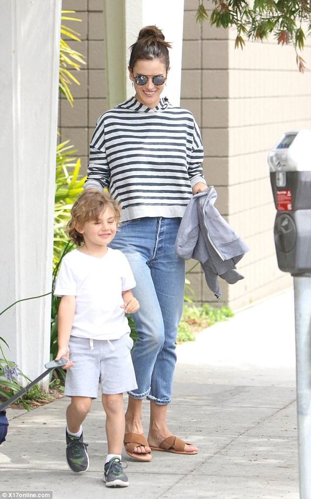 Out with her man: Alessandra Ambrosio had some time to devote to her little boy, Noah, on ...