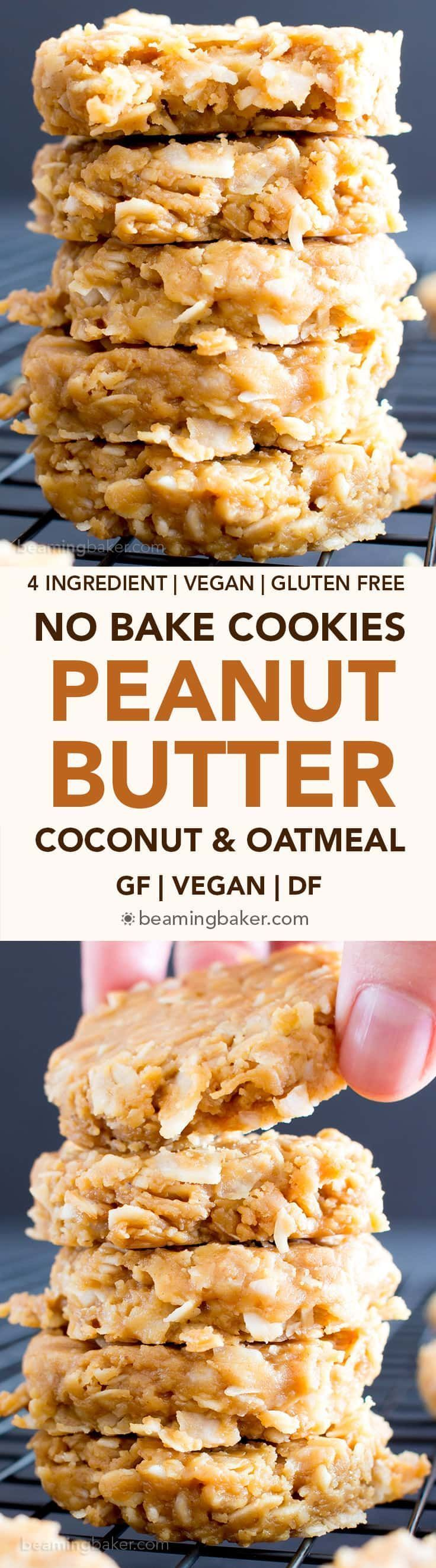 4 Ingredient No Bake Peanut Butter Coconut Oatmeal Cookies (V, GF) ~ A one-bowl recipe for super easy to make peanut butter cookies packed with coconut and oats! Gluten free, vegan, whole grain, and refined sugar free! BeamingBaker.com