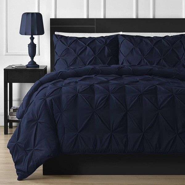 Double-Needle Durable Stitching Comfy Bedding 3-piece Pinch Pleat... (55 CAD) ❤ liked on Polyvore featuring home, bed & bath, bedding, comforters, dark blue comforter sets, king size bedding, king comforter sets, dark blue comforter and navy blue king comforter