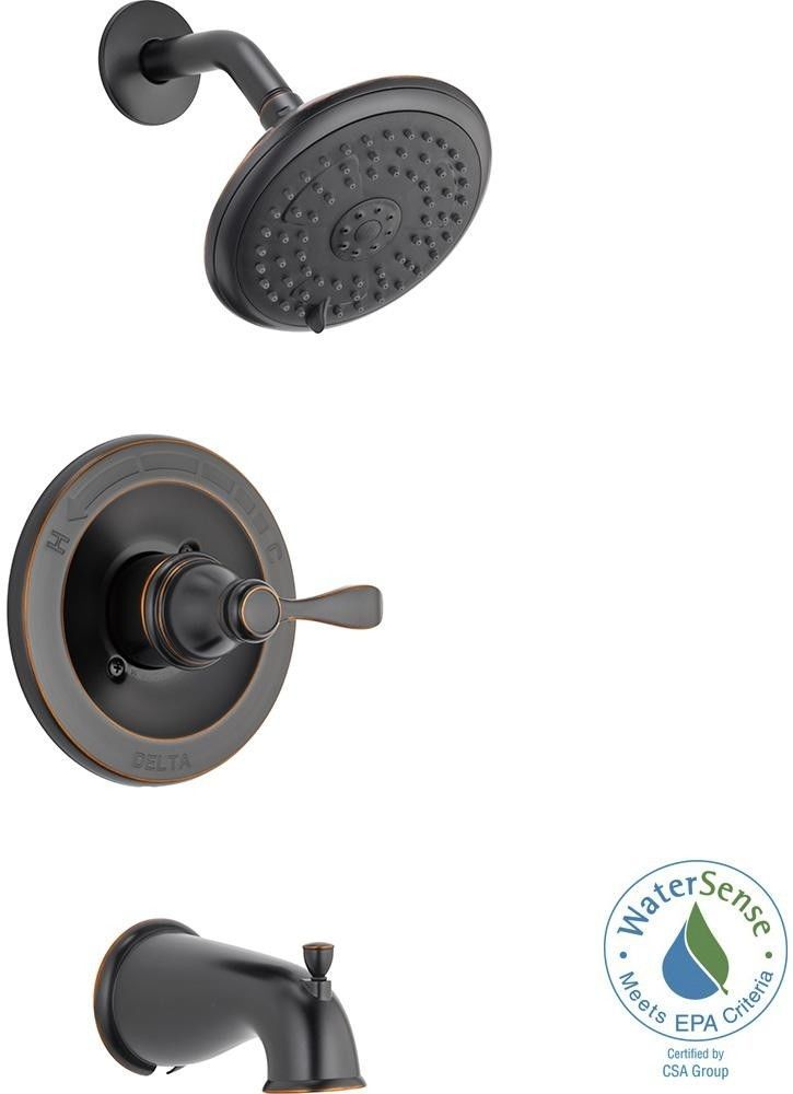 Delta Porter Single Handle Tub And Shower Faucet Oil Rubbed Bronze With Valve