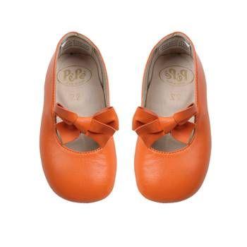 sweet orange shoes for those little feet in the fall season