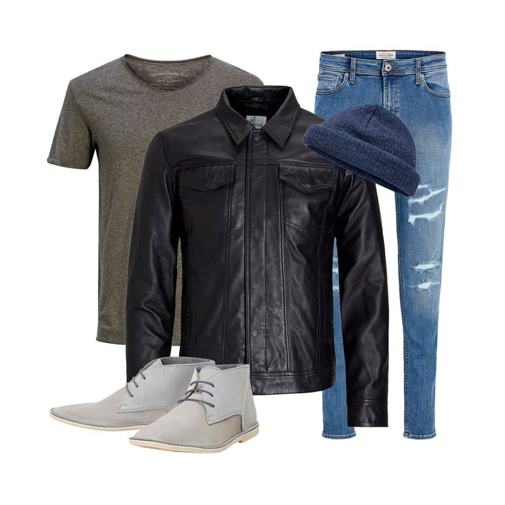 Men's outfit idea of the week: pair a black leather jacket with a plan tee, ripped blue denim jeans, grey suede boots and a blue beanie for a laid-back casual look | JACK & JONES