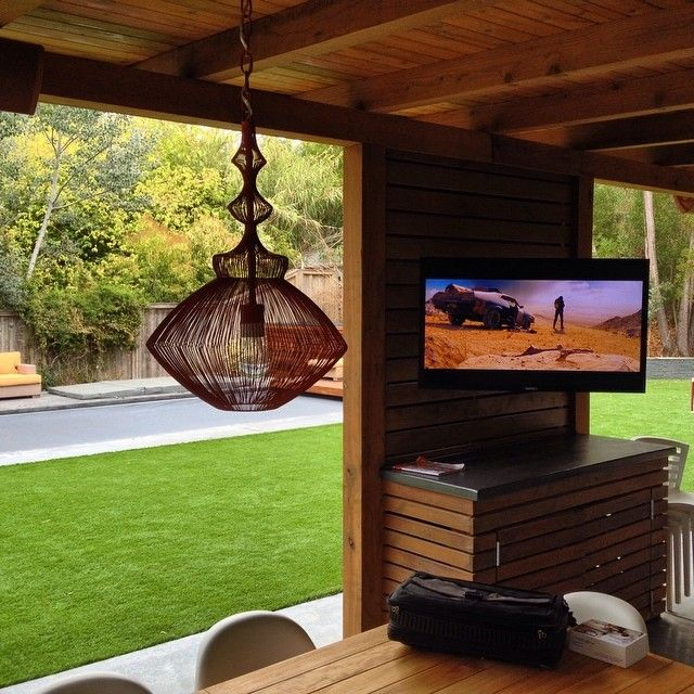 Sweet North CA Outdoor Living Space, Complete With Outdoor TV For  Entertaining This Football Season