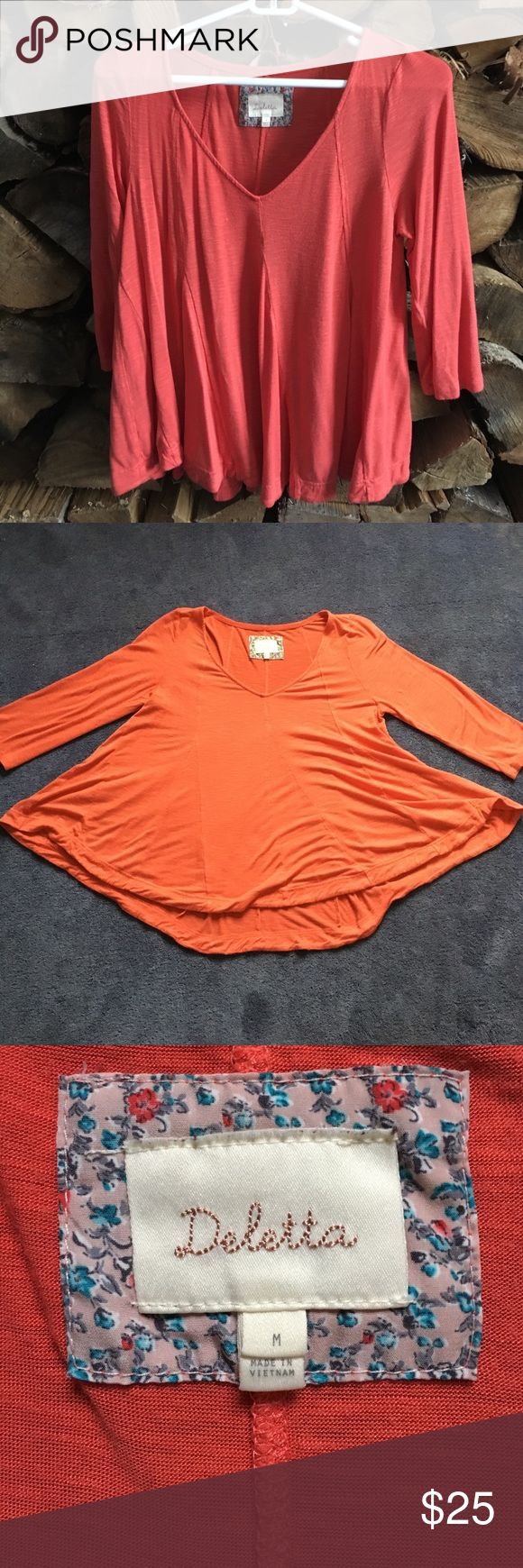 Anthropologie size M 3/4 coral shirt Coral 3/4 sleeve shirt. Very flowey shirt Anthropologie Tops Tees - Long Sleeve