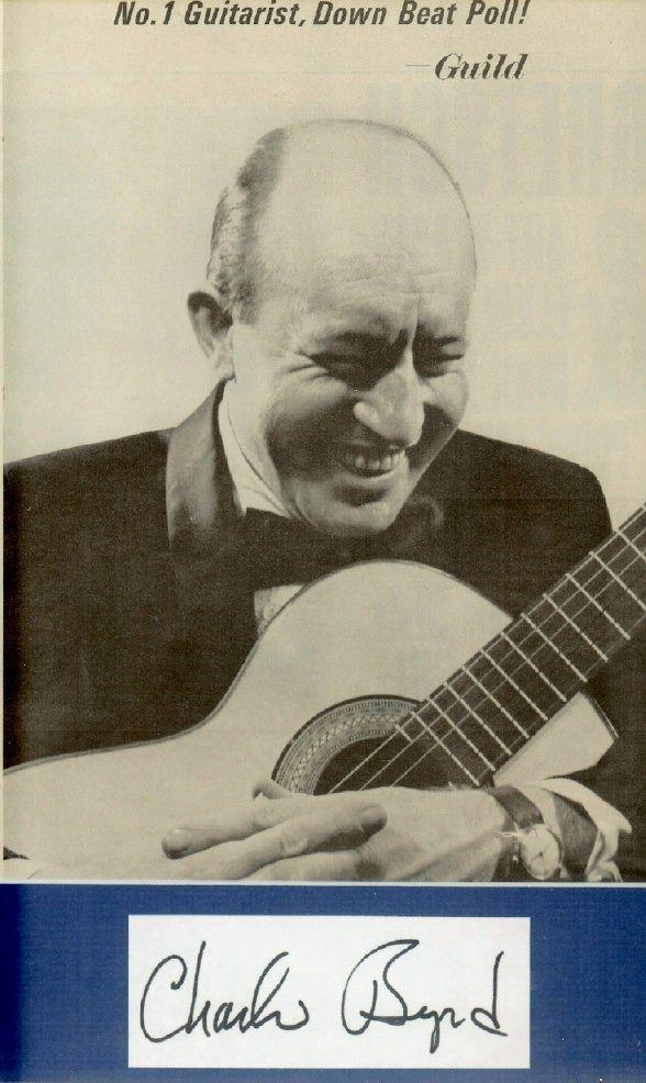 Original 1963 print Guild Guitar AD of Charlie Byrd and