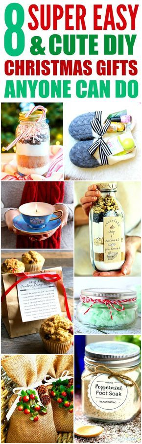 These 8 easy and cute DIY Christmas gifts are THE BEST! I'm so glad I found these GREAT ideas! Now I have cool gift projects for friends and family! Definitely pinning!