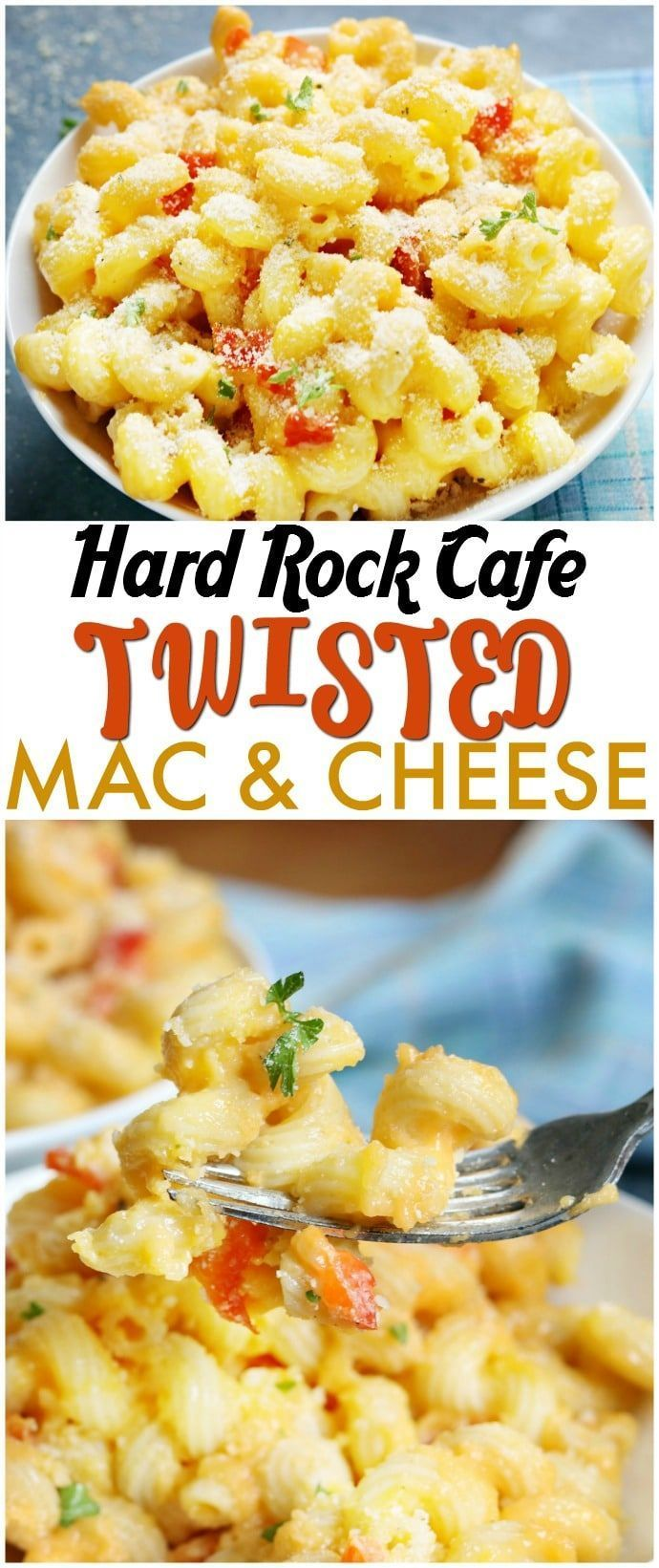 Hard Rock Cafe Twisted Mac & Cheese is cavatappi pasta tossed in a slightly spicy cheese sauce with roasted red peppers and topped with Parmesan parsley breadcrumbs. A copycat version of a favorite restaurant dish! | www.persnicketyplates.com