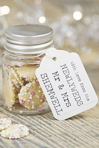 Personalised wedding favour sweetie jar by 3 blonde bears. For more insipiration visit us at https://facebook.com/theweddingcompanyni or http://www.theweddingcompany.ie