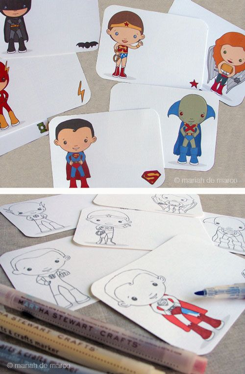 Superhero printables. Great for a group or lesson on having students color their hero but also write a description of the hero's character and powers. Have them identify who is a hero in their life: