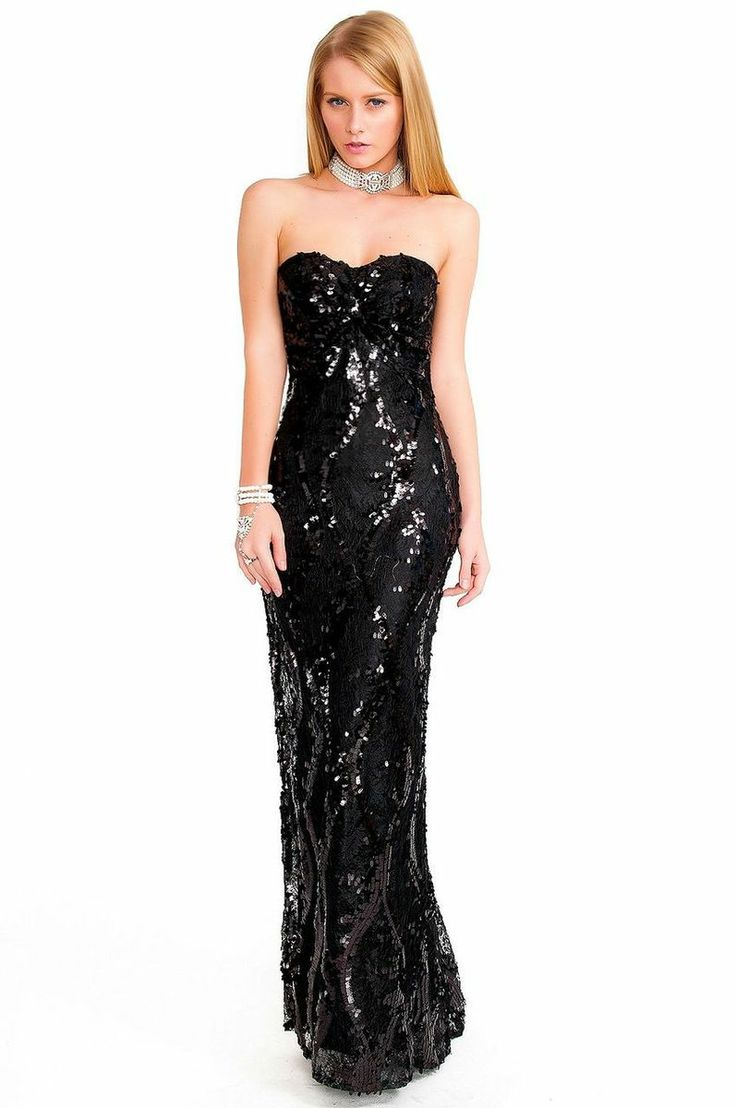 Black Sequin & Lace Strapless Gown #nye #nyedress # ...