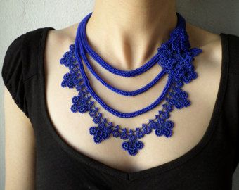 Beaded crochet statement necklace with cobalt blue and sapphire blue seed beads and crocheted flowers
