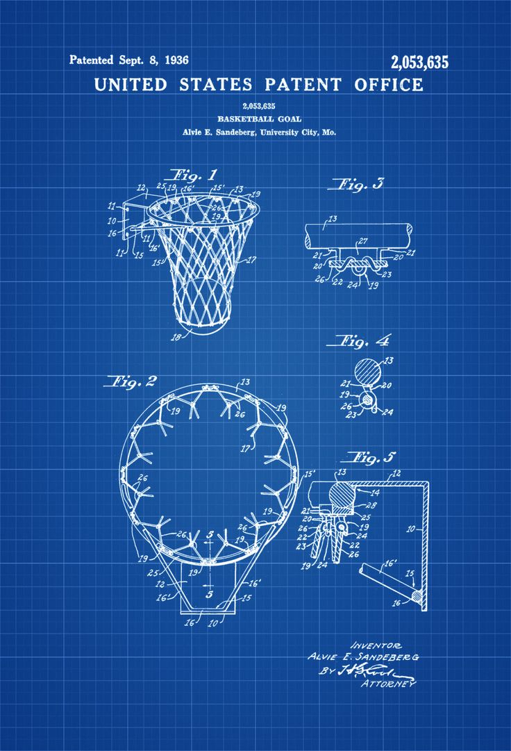 Basketball Hoop Patent - Patent Print, Wall Decor, Basketball Art, Basketball Poster, Basketball Patent by publiclens on Etsy