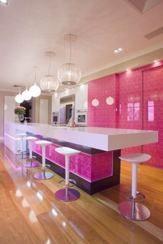 <3 this... if I ever get married, there is going to be some serious arguments about color usage with my husband lol.Kitchens Design, Dreams Kitchens, Contemporary Kitchens, Cupcakes Design, Colors, Dreams House, Pink Kitchens, Los Angels, Modern Kitchens