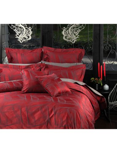 Create an impact with the rich red base and deep grey accents of this duvet cover set, and enjoy the feeling of modern elegance.