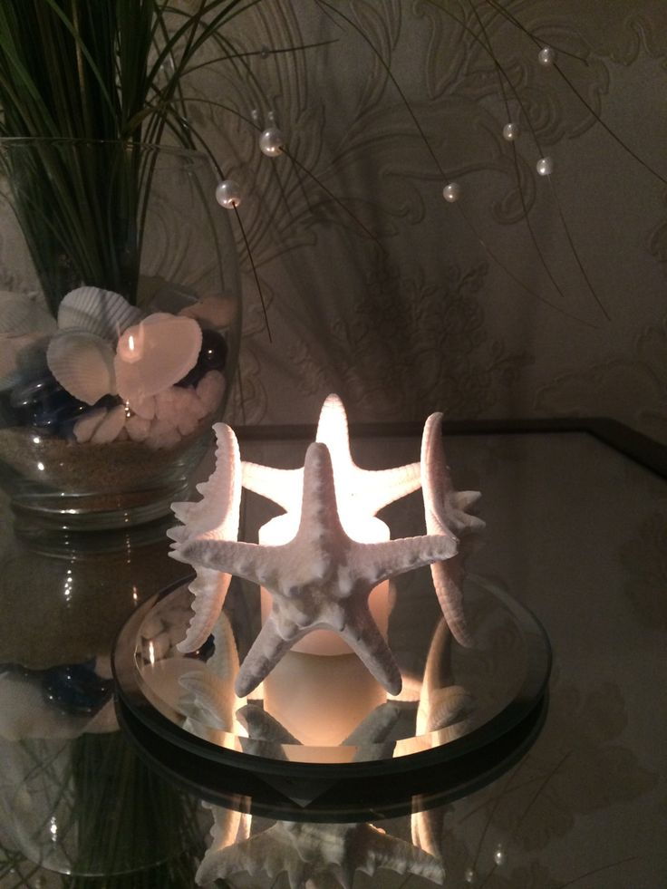 4 starfish candle holder, bathroom decor, living room, bedroom, seashell home decor, decorative candles, beach themed home, summer house by ReginaKril on Etsy