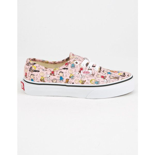Vans X Peanuts Dance Party Authentic Girls Shoes (£31) ❤ liked on Polyvore featuring shoes, sneakers, lacing sneakers, cartoon shoes, comic shoes, vans shoes and laced sneakers