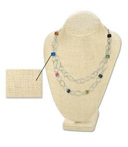 Linen Necklace Display Stand Jewelry Gold Silver Chains Easel