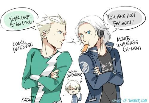 "'I love how Quicksilver (AOU) is just like ""Hey, I'm Quicksilver too! My hair is not that long and I got cool clothes.""'"