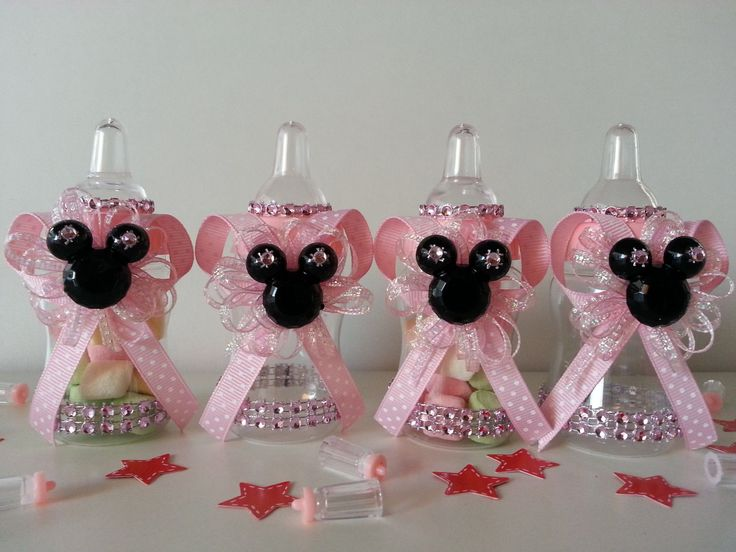 Details About 12 Minnie Mouse Pink Fillable Bottles Baby