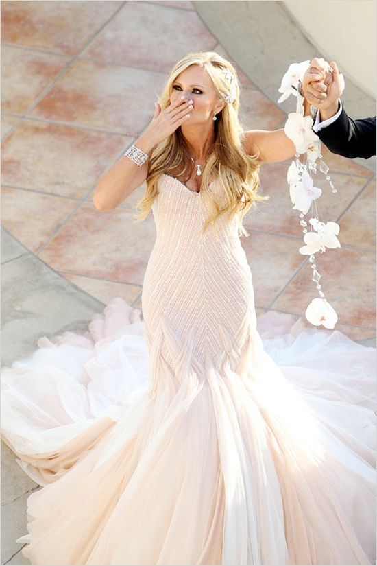 Glamorous light pink wedding dress