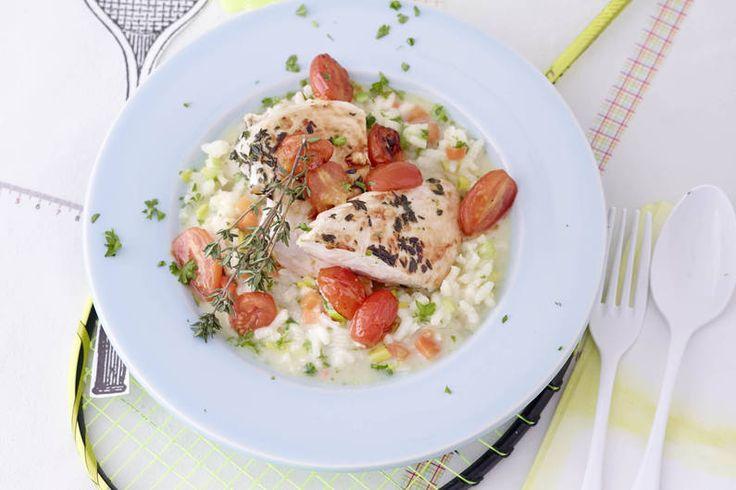 Das Rezept für Gebratene Würz-Hähnchenbrust auf Gemüserisotto mit allen nötigen Zutaten und der einfachsten Zubereitung - gesund kochen mit FIT FOR FUN