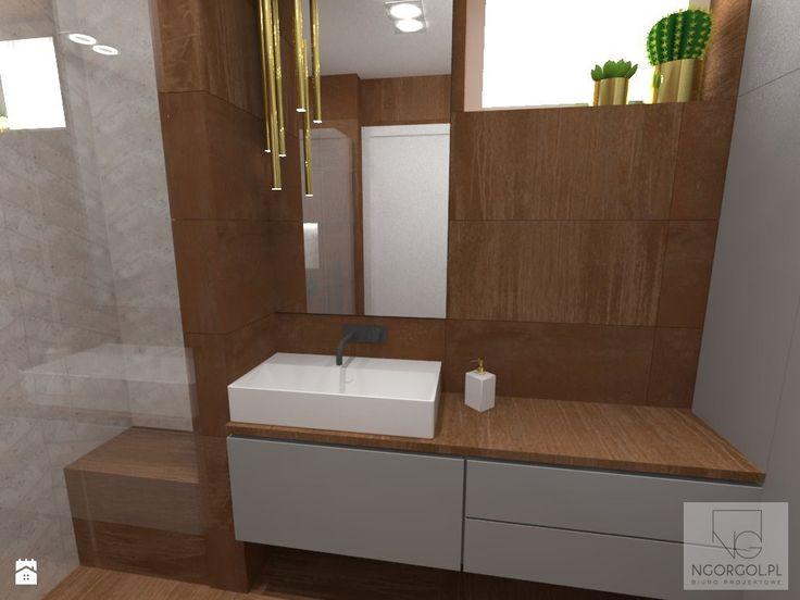 Łazienka - mix corten+beton+złoto - zdjęcie od NGORGOL - Łazienka - Styl Nowoczesny - NGORGOL