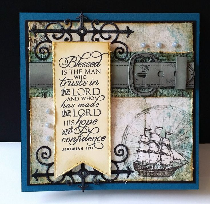 Handmade Father's Day card by DJ Rants using the Jeremiah 17:7 verse from the Scripture Medley 4 stamp set by Verve. #vervestamps #faithstamping