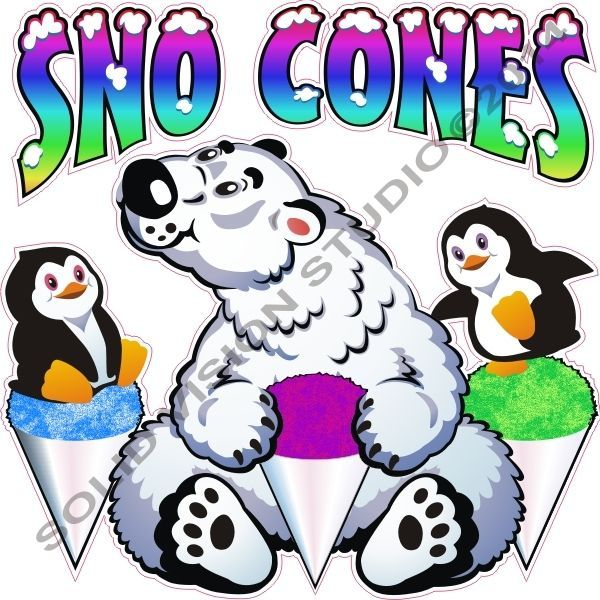 """14"""" Snow Cone Fun Polar Bear & Penquin Sno Flavor Syrup Cups Concession Trailer, Ice Cream Cart, Fast Food Truck Sign Decal"""
