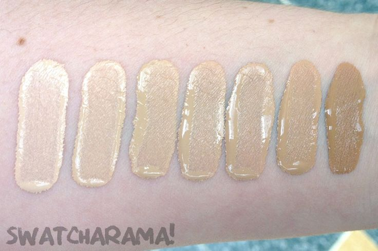 Bourjois Healthy Mix foundation | Swatcharama! The swatches are in numerical order from lightest to darkest: 51 (Vanille Clair/Light Vanilla), 52 (Vanille/Vanilla), 53 (Beige Clair/Light Beige), 54 (Beige), 55 (Beige Foncé/Dark Beige), 56 (Hâlé Clair/Light Bronze) and 58 (Hâlé Foncé/Dark Bronze). For reference, I am about N10 and 51 is a decent match.