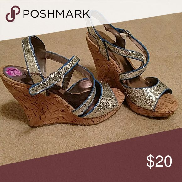 """Wedge sandles 3"""" Cork wedge sandles with sparkle material and blue trim. Carlos Shoes Sandals"""