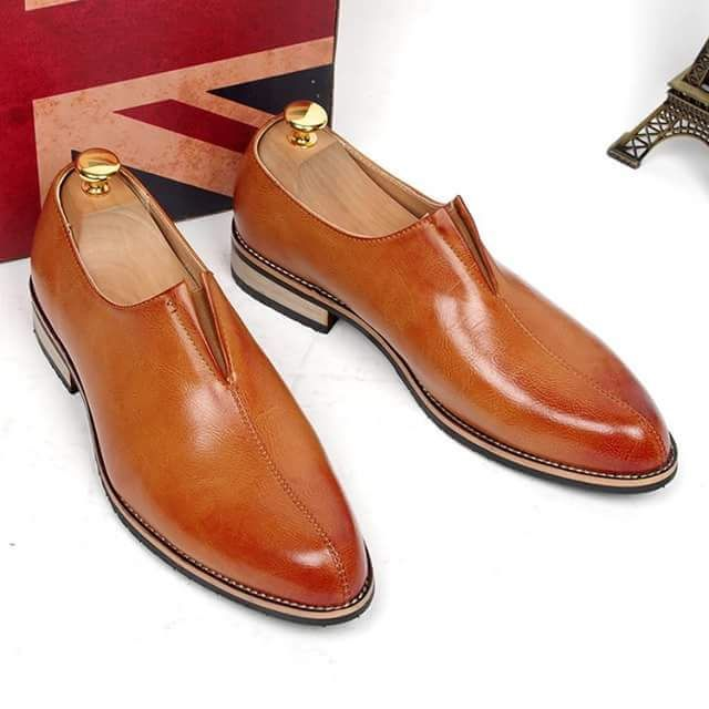 high quality men's business formal dress genuine leather lazy shoes slip on  loafers office career work shoe fashion footwear man