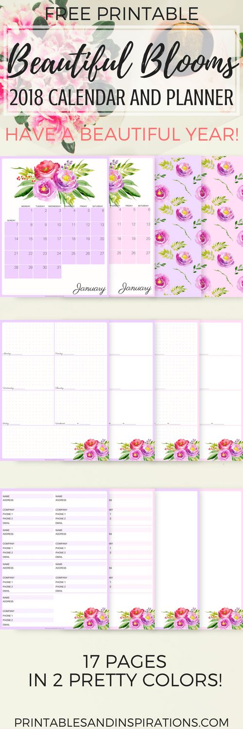 free printable floral calendar for 2018, 2018 calendar and planner printables, monthly planner and weekly planner, address book planner cover