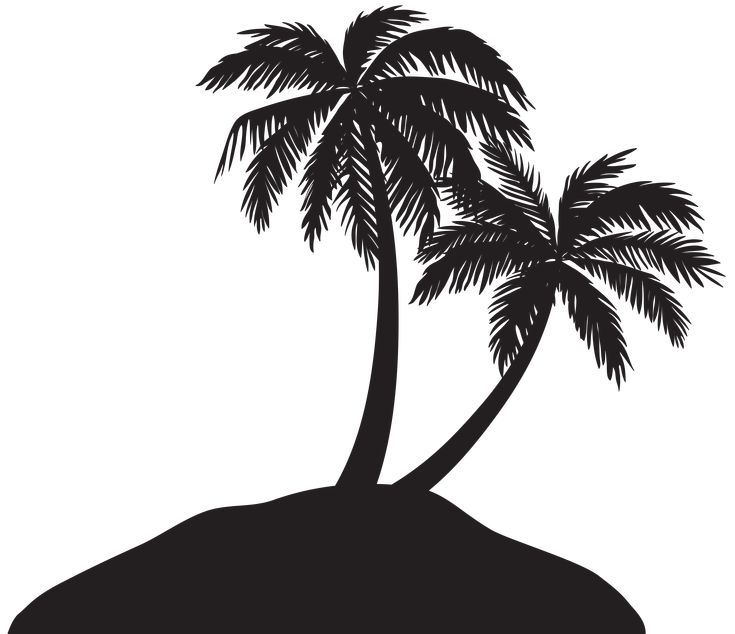 Island with Palm Trees Silhouette PNG Clip Art Image | Gallery Yopriceville - High-Quality Images and Transparent PNG Free Clipart