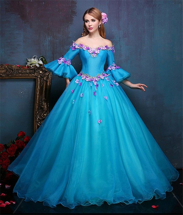 0600bf0a0cd Tale Ball Gown Off The Shoulder Flare Sleeve Blue Organza Prom Dress With  Flowers