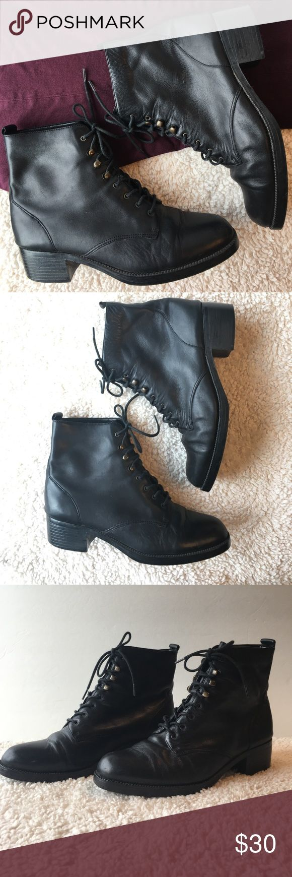 Mootsies Tootsies Lace Ankle Boots Mootsies Tootsies Booticon Black Leather Lace Ankle Boots Size 7.5 Shoes Ankle Boots & Booties