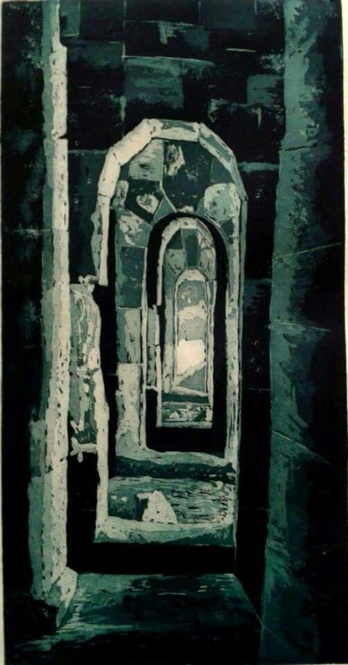 Gravür (Engrave)  Teknik : AQUATINTA  Erzurum Tabyaları 60x30cm 2015