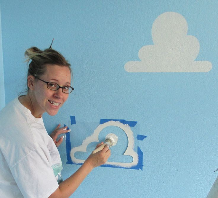 "We get several questions about our painted clouds on the walls of our ToyStoryRoom.  This blog will show you how to make Pixar perfect Toy Story Clouds of your own. Our Toy Story Cloud stencils are now available on Amazon. The blue paint color is Benjamin Moore ""Grandma's Sweater"" #787,"