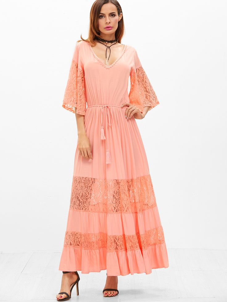 Shop Lace Insert Kimono Sleeve Drawstring Waist Tiered Dress online. SheIn offers Lace Insert Kimono Sleeve Drawstring Waist Tiered Dress & more to fit your fashionable needs.