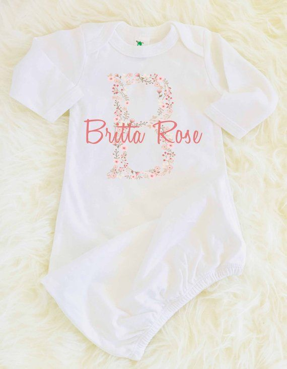 62f40b3c03113 Custom Baby Gown, Custom Newborn Gown, Personalized Baby Gift, Name ...