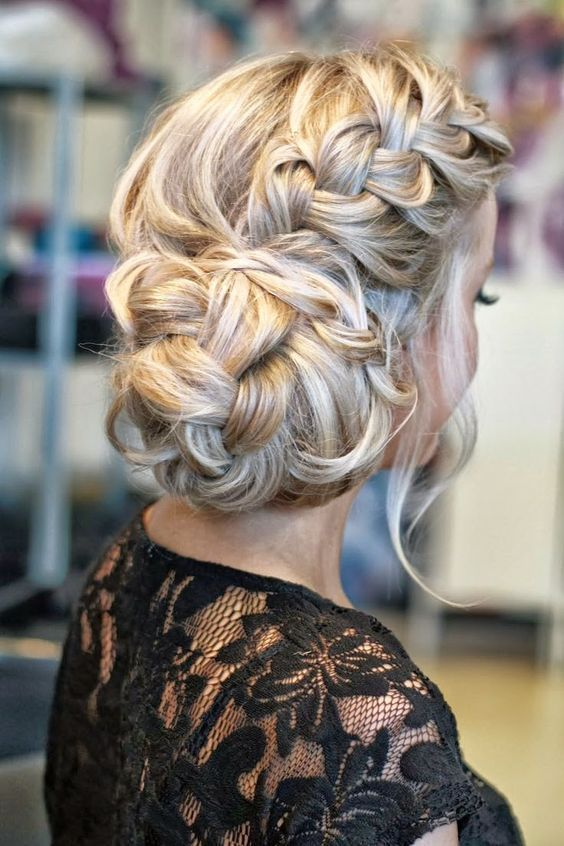 Glamorous Wedding Updo With Flower Veil French-Braided-Wedding