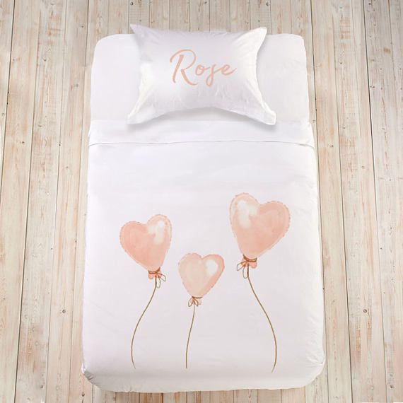 Kids sheet set Toddler duvet set Kids bedding set Heart bedding Cute bedding Pink bedding Organic cotton bedding with name Custom bed linen   Sweetheart bedding set for your little angel girl! Soft, 100% organic cotton or Egyptian cotton (sateen) customized bedding will guarantee the