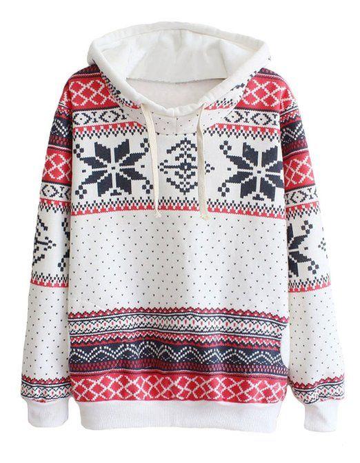 Bluetime Women's Cute Snowflake Pullover Hoodie Christmas Sweater Sweatshirts