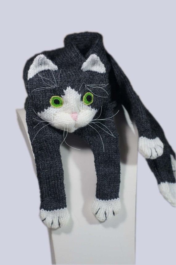 Tuxedo Cat Knitting Scarf Pattern PDF File Instant Download Animal Knitting Toys Scarf Gift Idea