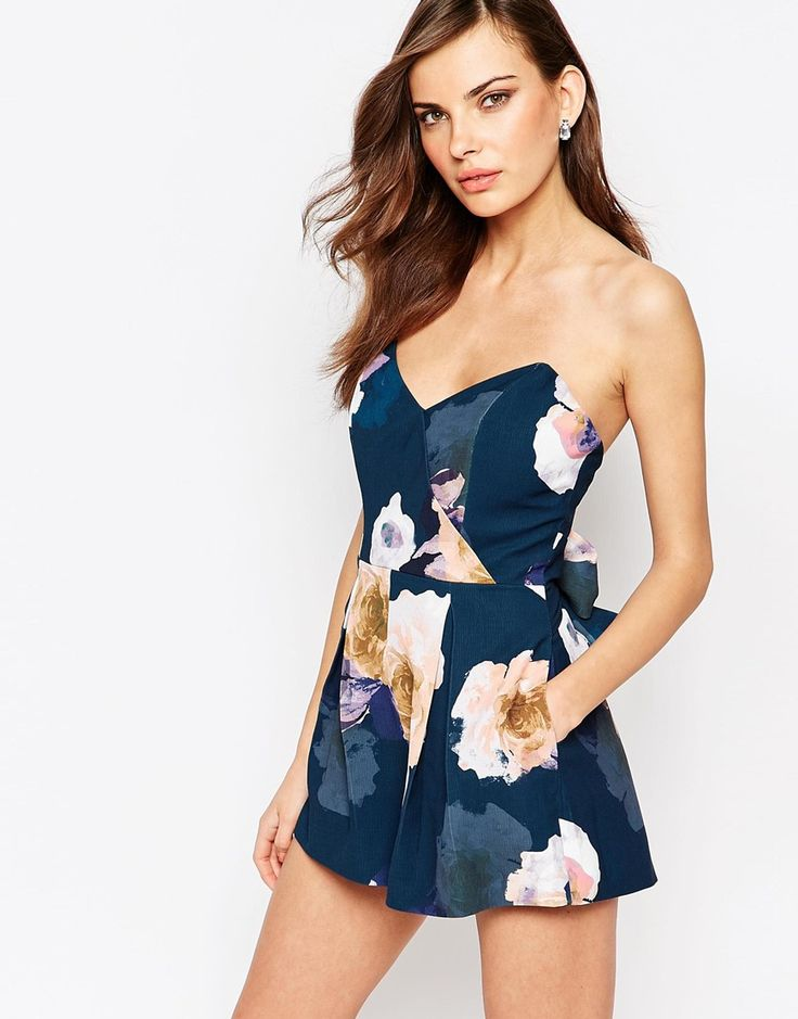 Image 1 of Keepsake Get Free Strapless Playsuit in Dark Floral